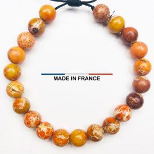 Bracelet yodee en Jaspe Corail 8 mm vue du dessus