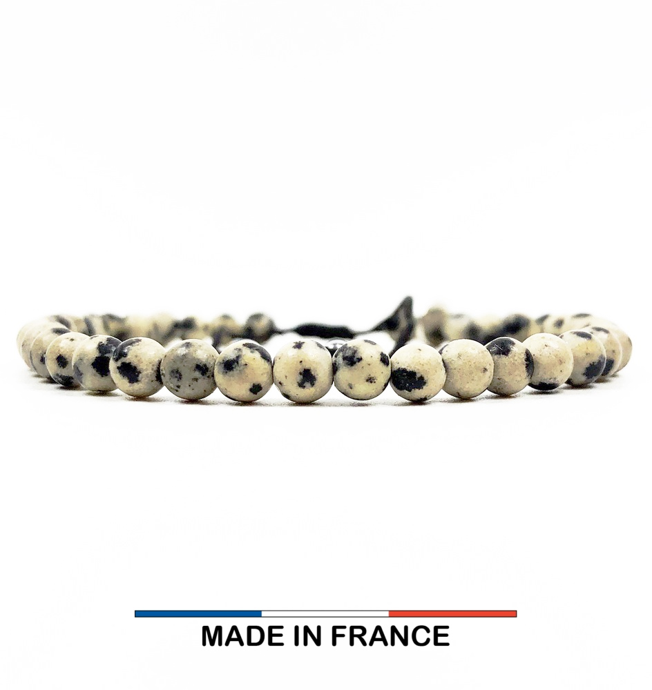 Bracelet yodee en Jaspe Dalmatien Mat 4 mm