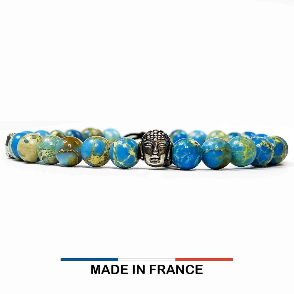 Bracelet yodee en Jaspe Impérial Turquoise 6 mm et 3 Boudhas Argentés