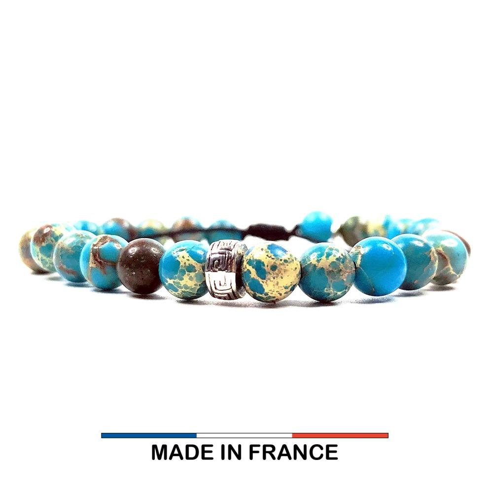 Bracelet yodee en Jaspe Impérial Turquoise 6 mm et 3 Intercalaires Argentés