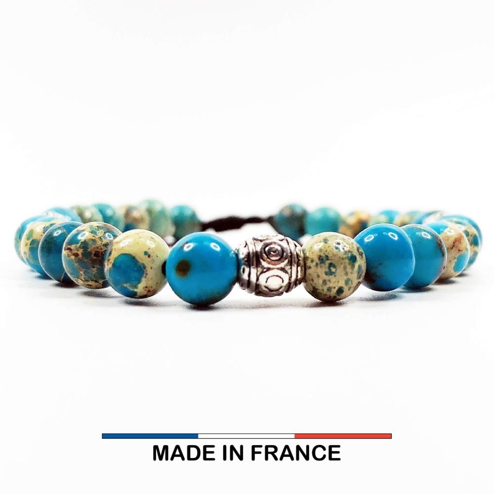 Bracelet yodee en Jaspe Impérial Turquoise 6 mm et 3 Olives Argenté