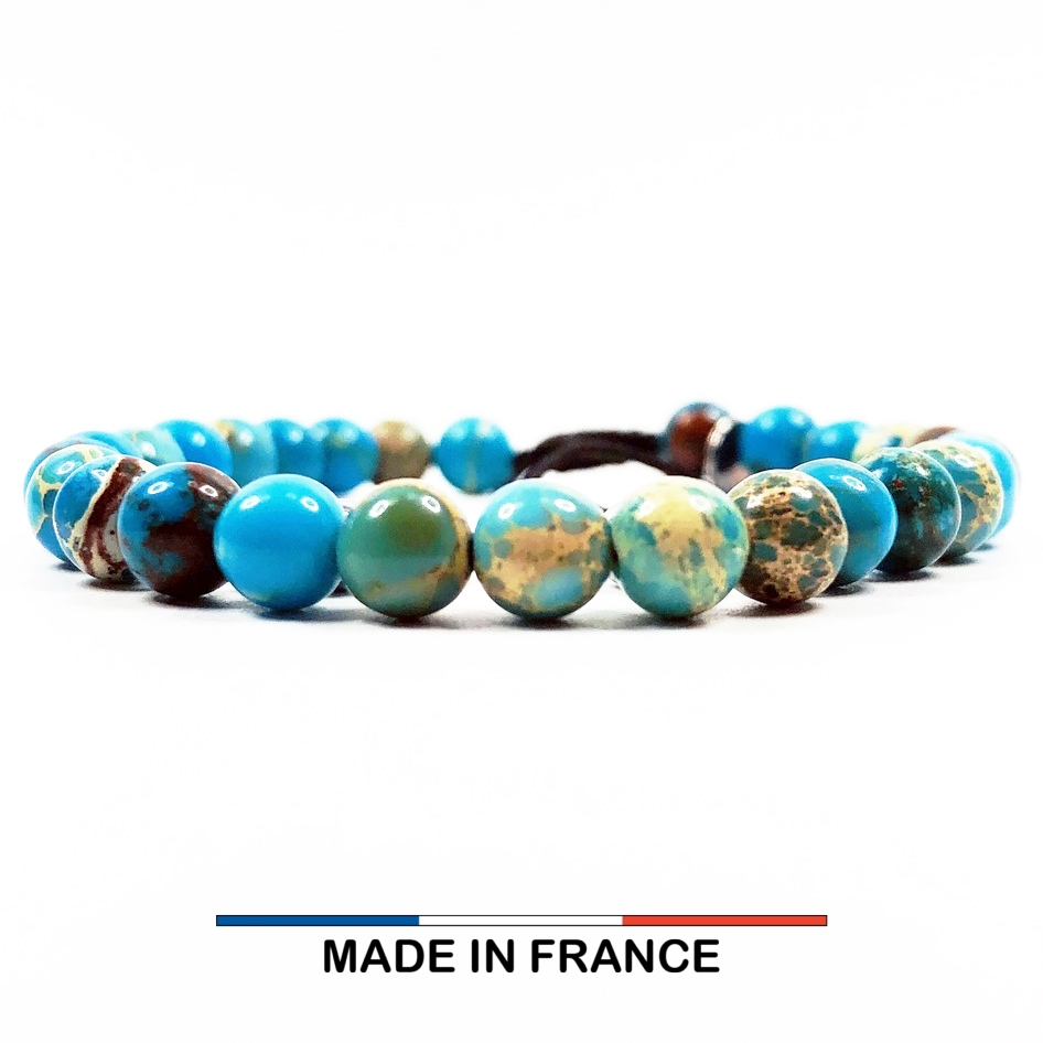 Bracelet yodee en Jaspe Impérial Turquoise 6 mm