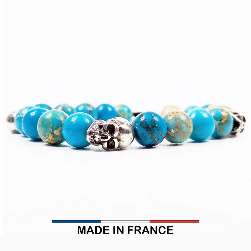 Bracelet yodee en Jaspe Impérial Turquoise 8 mm et 3 Cranes Argentés