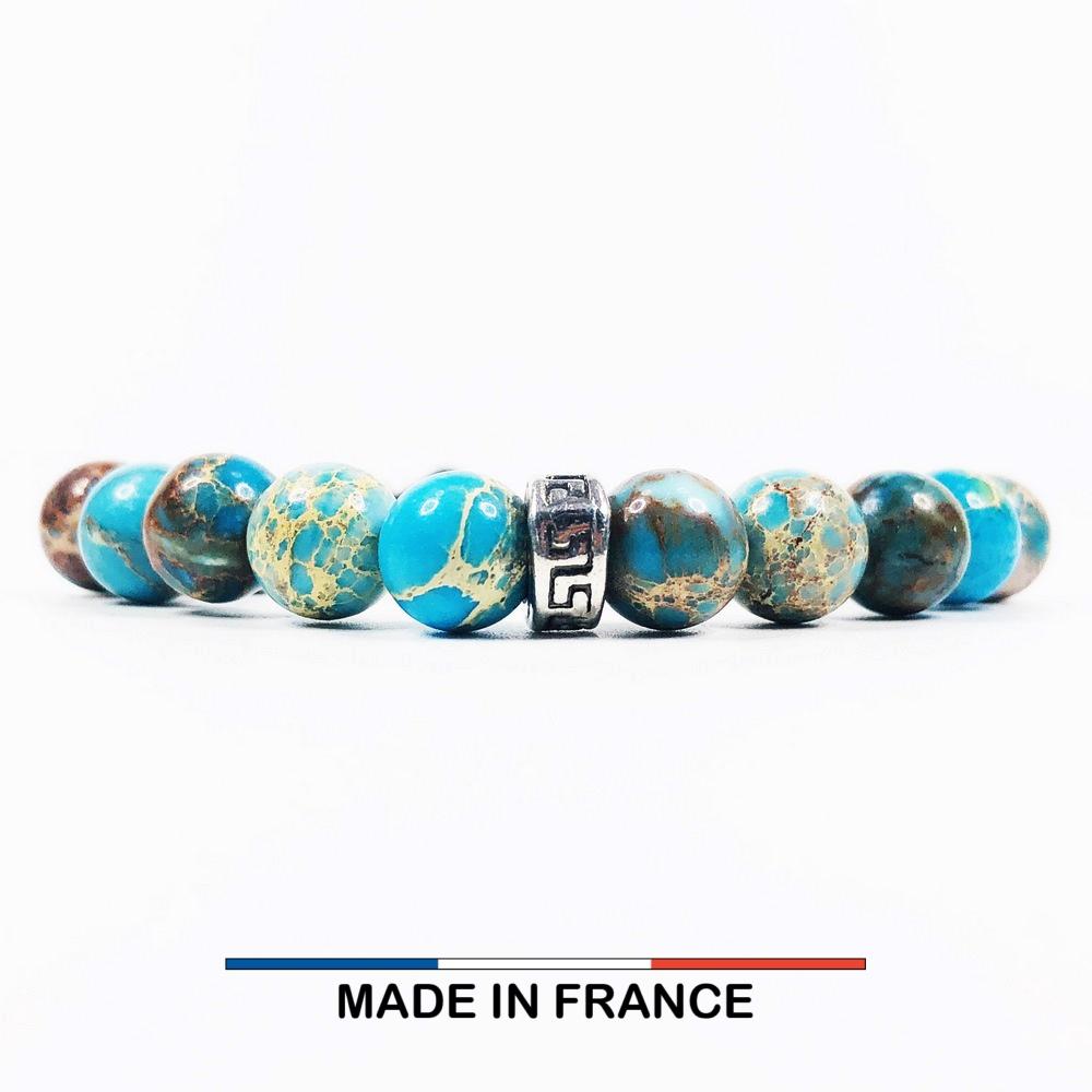 Bracelet yodee en Jaspe Impérial Turquoise 8 mm et 3 Intercalaires Argentés