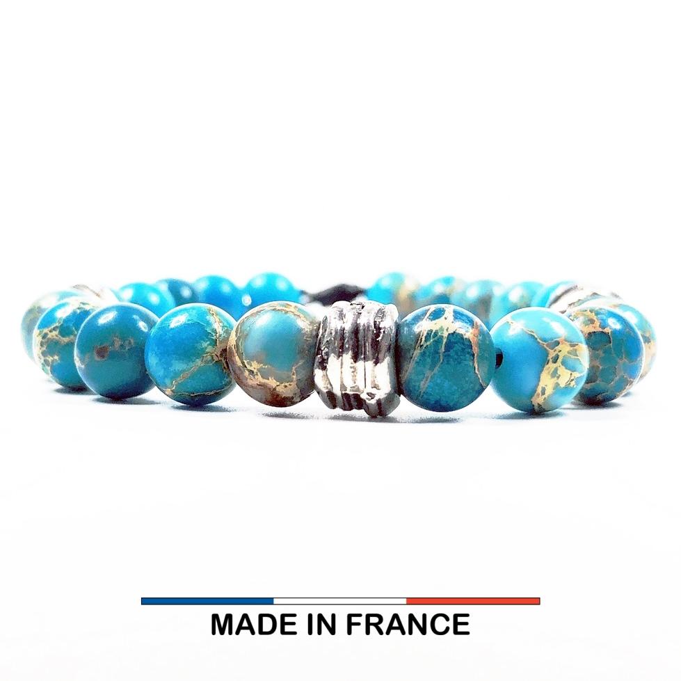 Bracelet yodee en Jaspe Impérial Turquoise 8 mm et 3 Perles Striées Argentées