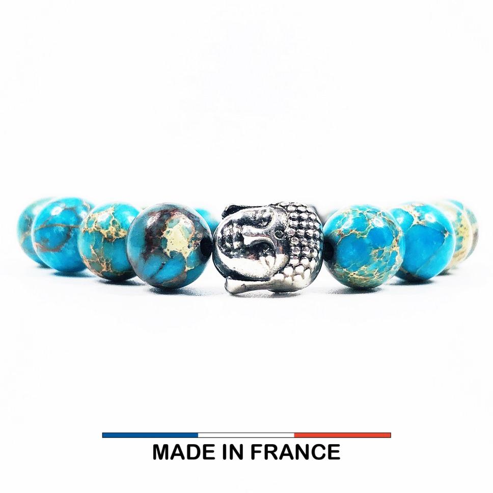 Bracelet yodee en Jaspe Impérial Turquoise 8 mm et un Boudha Argenté