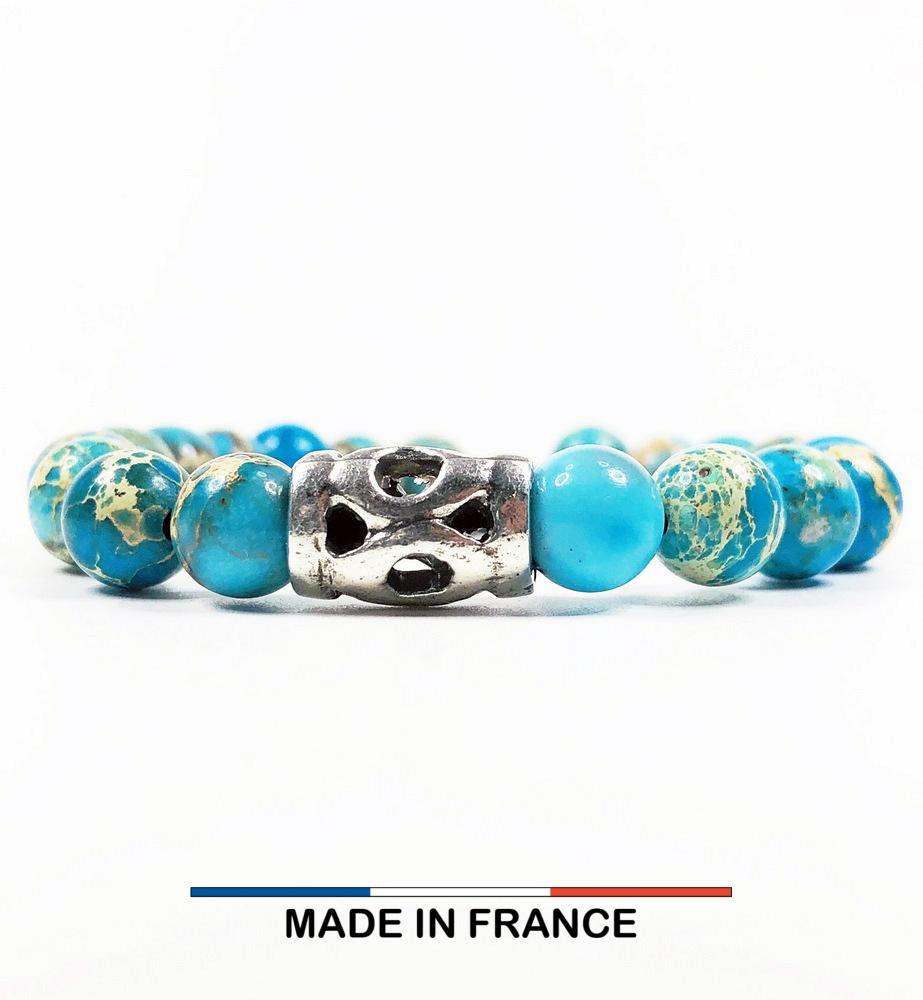 Bracelet yodee en Jaspe Impérial Turquoise 8 mm et un Grand Intercalaire Ajouré