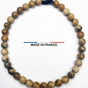 Bracelet yodee en Jaspe Paysage d'Afrique du Sud 4 mm vue du dessus