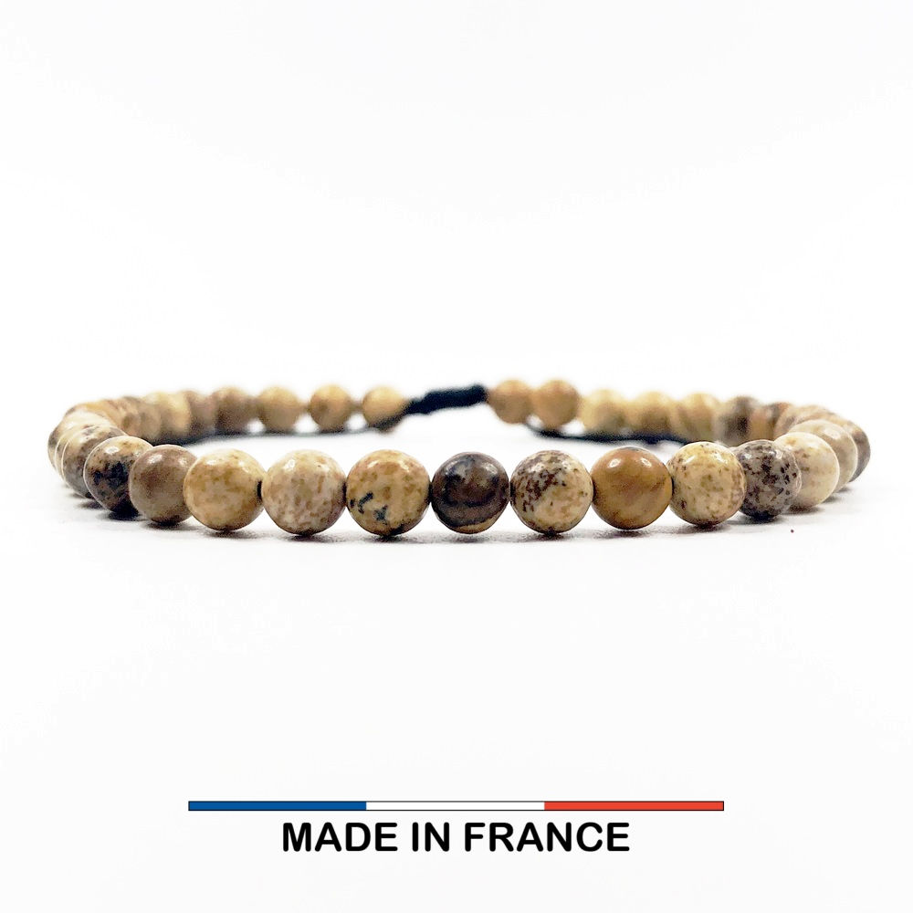 Bracelet yodee en Jaspe Paysage d'Afrique du Sud 4 mm