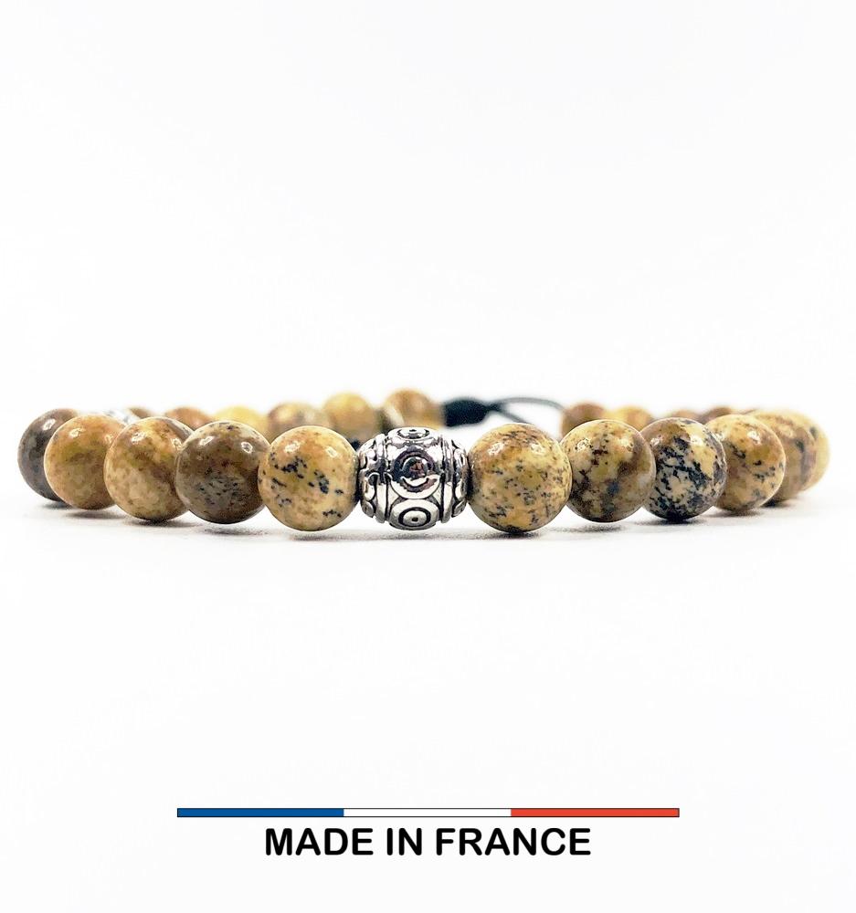 Bracelet yodee en Jaspe Paysage d'Afrique 6 mm avec 3 Olives Argentés