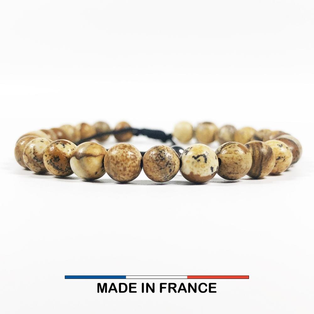 Bracelet yodee en Jaspe Paysage d'Afrique 6 mm
