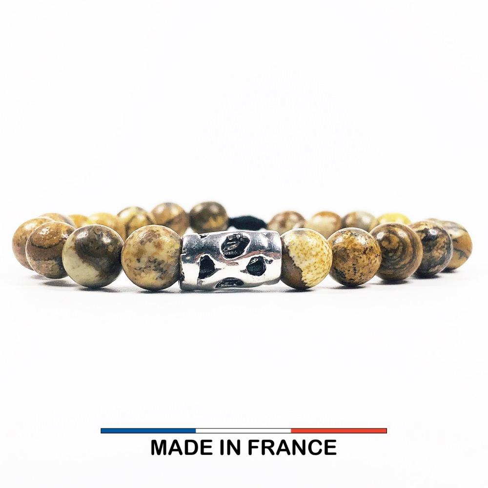 Bracelet yodee en Jaspe Paysage d'Afrique 8 mm avec un Intercalaire Ajouré Argenté