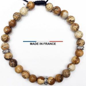 Bracelet yodee en Jaspe Paysage d_Afrique 6 mm avec 3 Intercalaires Argentés vue du dessus