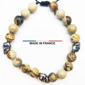 Bracelet yodee en Jaspe Paysage d_Afrique 8 mm avec 3 Cranes Argentés vue du dessus