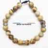 Bracelet yodee en Jaspe Paysage d_Afrique 8 mm avec 3 Intercalaires Argentés vue du dessus