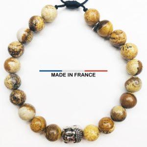 Bracelet yodee en Jaspe Paysage d_Afrique 8 mm avec un Boudha Argenté vue du dessus
