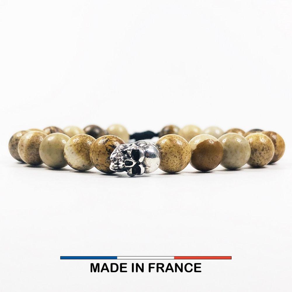 Bracelet yodee en Jaspe Paysage d_Afrique 8 mm avec un Crane Argenté