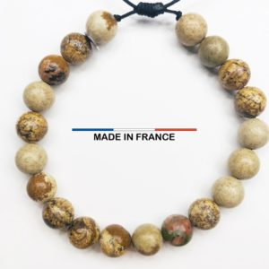 Bracelet yodee en Jaspe Paysage d_Afrique 8 mm vue du dessus