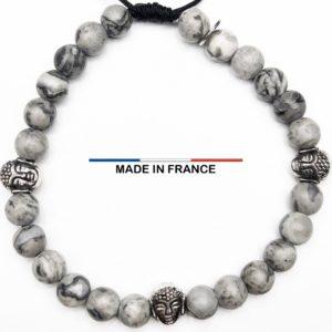 Bracelet yodee en Jaspe Picasso gris 6 mm et 3 Boudhas Argentés vue du dessus