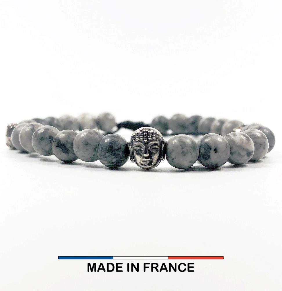 Bracelet yodee en Jaspe Picasso gris 6 mm et 3 Boudhas Argentés