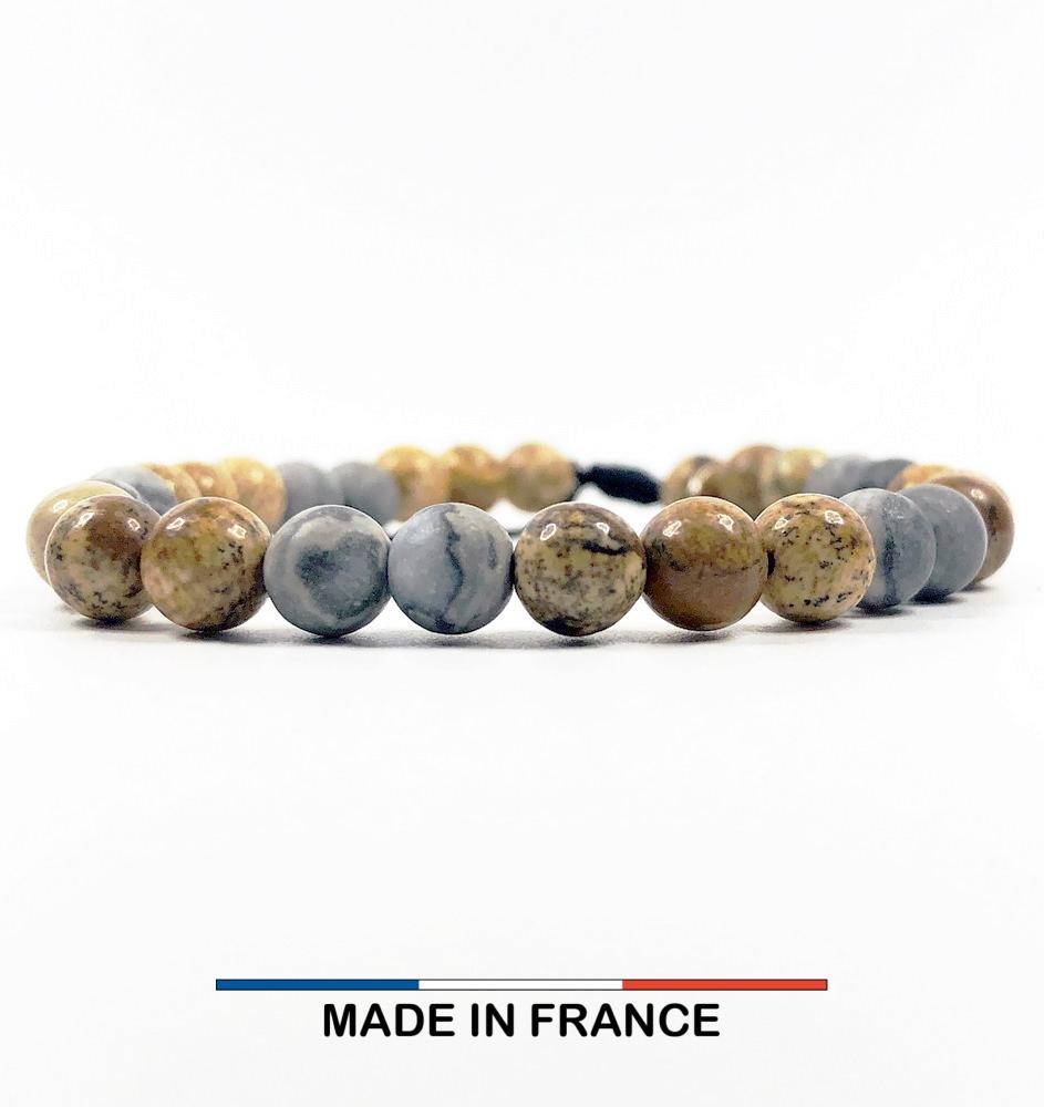 Bracelet yodee en Jaspe Picasso gris 6 mm et Jaspe Paysagé d_Afrique du Sud 6 mm