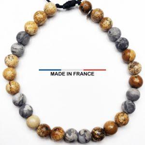Bracelet yodee en Jaspe Picasso gris 6 mm et Jaspe Paysagé d_Afrique du Sud 6 mm vue du dessus