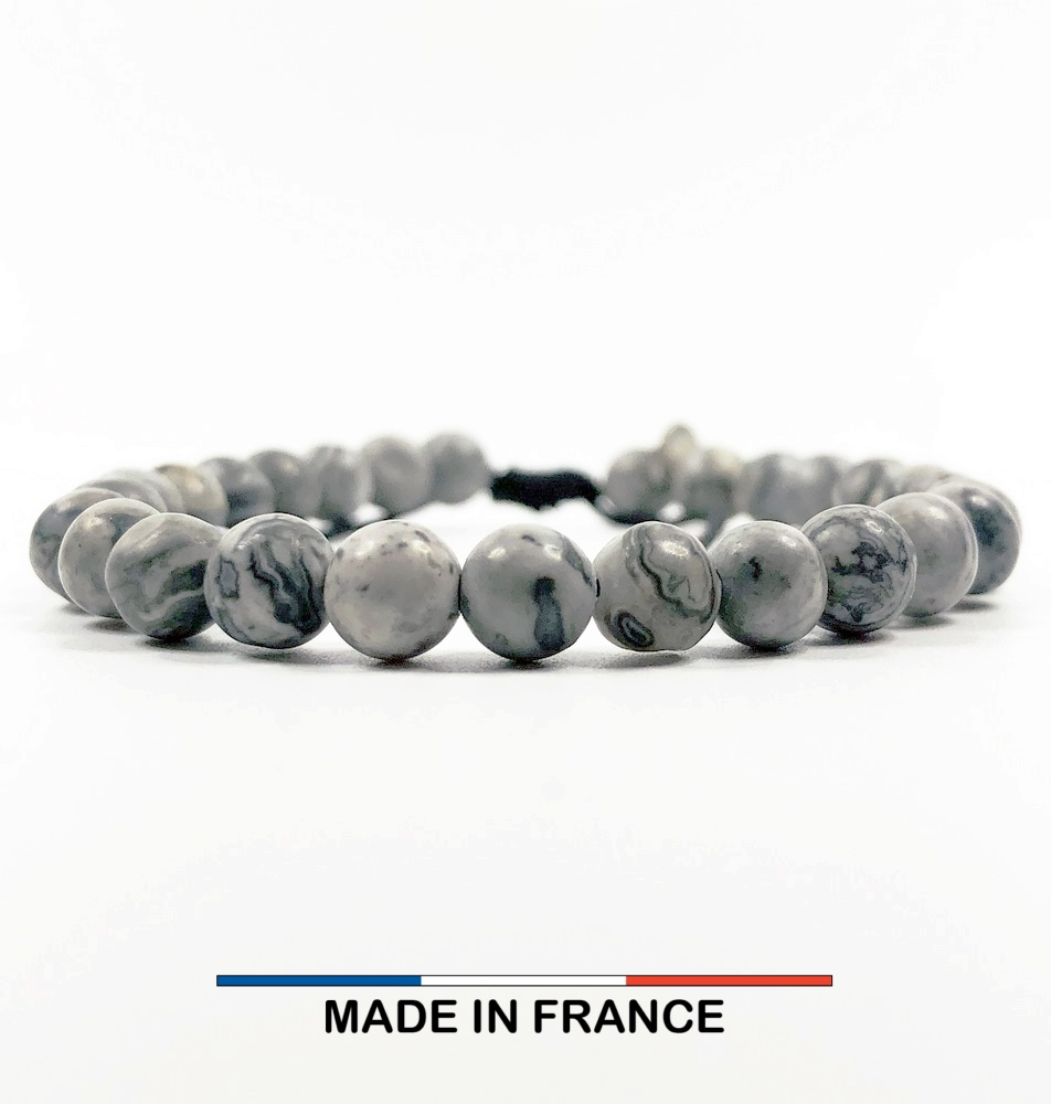 Bracelet yodee en Jaspe Picasso gris 6 mm