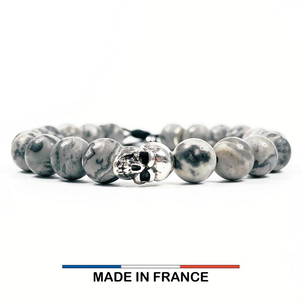 Bracelet yodee en Jaspe Picasso gris 8 mm et un Crane Argenté