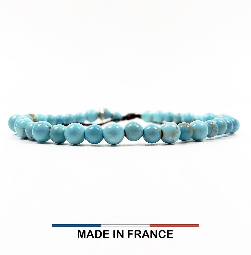 Bracelet yodee en Magnésite Turquoise 4 mm