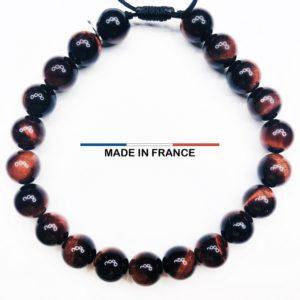 Bracelet yodee en Oeil de tigre Brillant 6 mm et 3 Cranes Argentés vue du dessus