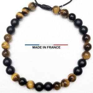 Bracelet yodee en Oeil de tigre Brillant 6 mm et Onyx Mat 6 mm vue du dessus