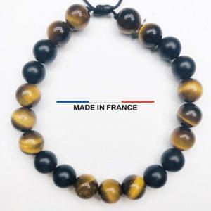 Bracelet yodee en Oeil de tigre Brillant 8 mm et Onyx Mat 8 mm vue du dessus
