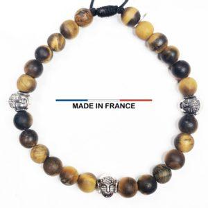 Bracelet yodee en Oeil de tigre Mat 6 mm et 3 Boudhas Argentés vue du dessus