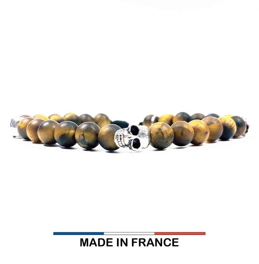 Bracelet yodee en Oeil de tigre Mat 6 mm et 3 Cranes Argentés