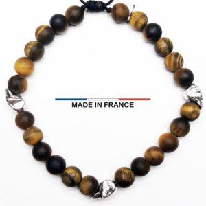 Bracelet yodee en Oeil de tigre Mat 6 mm et 3 Cranes Argentés vue du dessus
