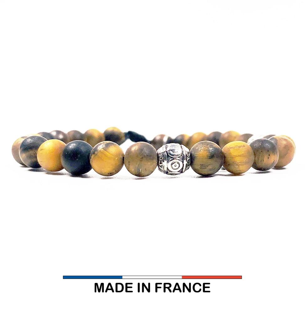 Bracelet yodee en Oeil de tigre Mat 6 mm et 3 Olives Argenté
