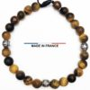 Bracelet pierre semi précieuse Oeil de tigre Mat 6 mm et 3 Olives Argenté vue du dessus