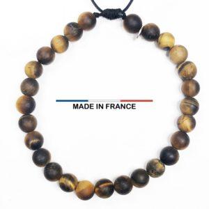 Bracelet pierre semi précieuse Oeil de tigre Mat 6 mm vue du dessus