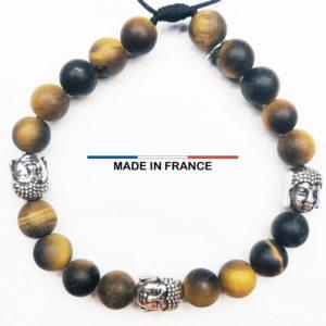 Bracelet pierre Oeil de tigre Mat 8 mm et 3 Boudhas Argenté vue du dessus