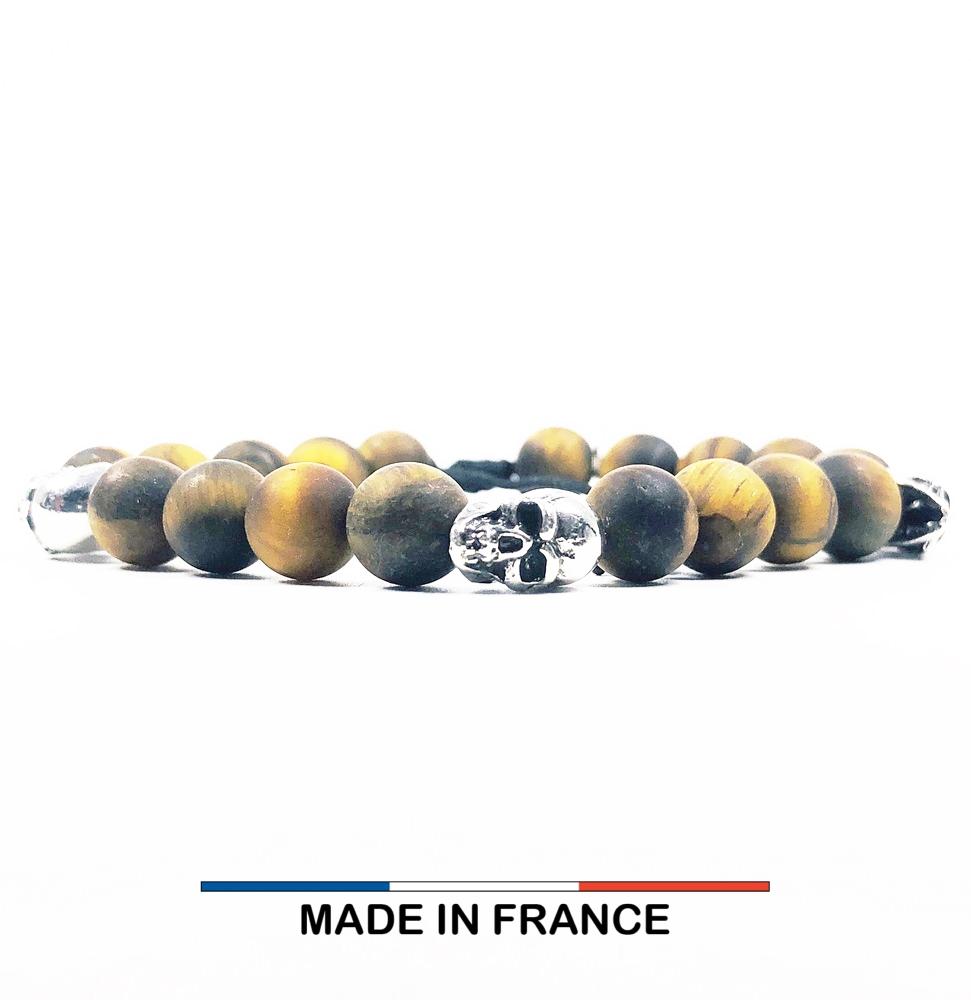 Bracelet yodee en Oeil de tigre Mat 8 mm et 3 Cranes Argentés
