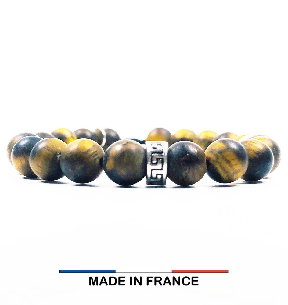 Bracelet yodee en Oeil de tigre Mat 8 mm et 3 Intercalaires Argentés
