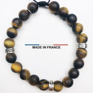 Bracelet pierre Oeil de tigre Mat 8 mm et 3 Intercalaires Argentés vue du dessus