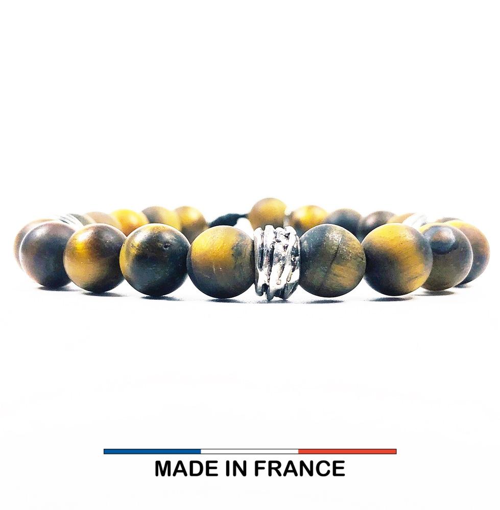 Bracelet yodee en Oeil de tigre Mat 8 mm et 3 Perles Striées Argentées