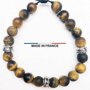 Bracelet pierre semi-précieuse Oeil de tigre Mat 8 mm et 3 Perles Striées Argentées vue du dessus