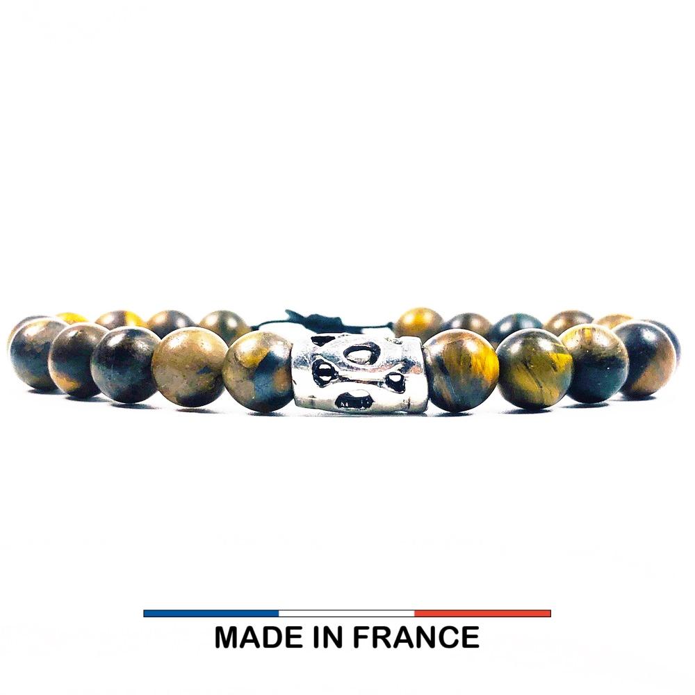 Bracelet yodee en Oeil de tigre Mat 8 mm et Grand Intercalaire Ajouré
