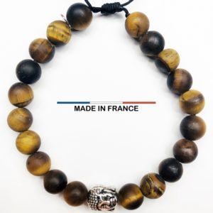 Bracelet pierre semi-précieuse Oeil de tigre Mat 8 mm et un Boudha Argenté vue du dessus