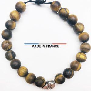 Bracelet pierre Oeil de tigre Mat 8 mm et un Crane Argenté vue du dessus
