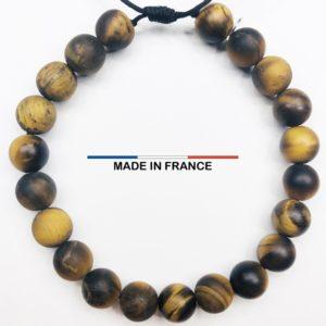 Bracelet pierre semi précieuse Oeil de tigre Mat 8 mm vue du dessus