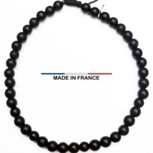 Bracelet pierre semi-précieuse Onyx Brillant 4 mm vue du dessus