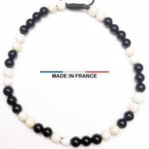 Bracelet pierre Onyx Brillant et Magnésite Blanche 4 mm vue du dessus
